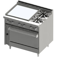 Blodgett BR-24GT-2-36C 2 Burner 36 inch Thermostatic Gas Range with Left Side 24 inch Griddle and Convection Oven Base - 138,000 BTU