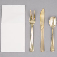Visions Gold Heavy Weight Plastic Cutlery Set with White Linen-Feel Napkin - 50/Case