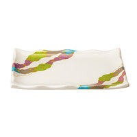 GET 142-24-CO 9 1/4 inch x 6 1/2 inch Contemporary Melamine Rectangle Plate with Wavy Edges - 12/Pack