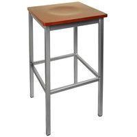 BFM Seating 2510BCHW-SV Trent Silver Metal Barstool with Cherry Wood Seat