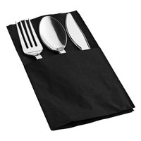 Silver Visions Silver Heavy Weight Plastic Cutlery Set with Black Pocket Fold Napkin - 50/Case
