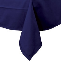 64 inch x 110 inch Navy Blue Hemmed Polyspun Cloth Table Cover