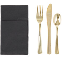 Visions Gold Heavy Weight Plastic Cutlery Set with Black Pocket Fold Napkin - 50/Case