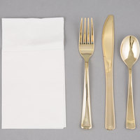 Visions Gold Heavy Weight Plastic Cutlery Set with White Pocket Fold Napkin   - 50/Case