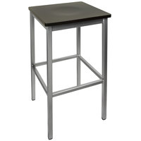 BFM Seating 2510BBLW-SV Trent Silver Metal Barstool with Black Wood Seat