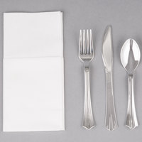 Silver Visions Silver Heavy Weight Plastic Cutlery Set with White Linen-Feel Napkin - 50 / Case