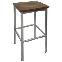 BFM Seating 2510BMHW-SV Trent Silver Metal Barstool with Mahogany Wood Seat