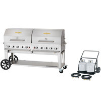 Crown Verity MCC-72RDP 72 inch Mobile Outdoor Cart Grill with 2 Vertical Propane Tanks and Roll Dome Package