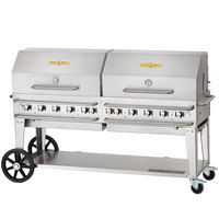 Crown Verity RCB-72RDP-SI 72 inch Pro Series Outdoor Rental Grill with Single Gas Connection and Roll Dome Package