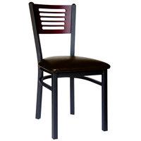 BFM Seating 2151CDBV-MHSB Espy Sand Black Metal Side Chair with Mahogany Wooden Back and 2 inch Dark Brown Vinyl Seat