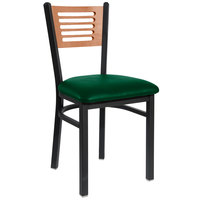 BFM Seating 2151CGNV-CHSB Espy Sand Black Metal Side Chair with Cherry Wooden Back and 2 inch Green Vinyl Seat