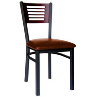BFM Seating 2151CLBV-MHSB Espy Sand Black Metal Side Chair with Mahogany Wooden Back and 2 inch Light Brown Vinyl Seat