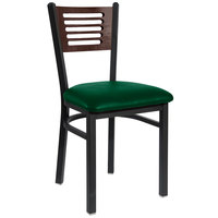 BFM Seating 2151CGNV-WASB Espy Sand Black Metal Side Chair with Walnut Wooden Back and 2 inch Green Vinyl Seat