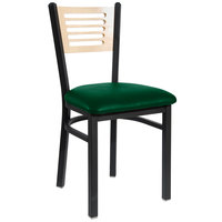 BFM Seating 2151CGNV-NTSB Espy Sand Black Metal Side Chair with Natural Wooden Back and 2 inch Green Vinyl Seat