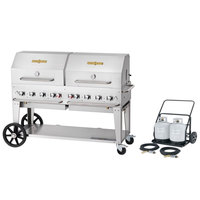 Crown Verity MCC-60RDP 60 inch Mobile Outdoor Cart Grill with 2 Vertical Propane Tanks and Roll Dome Package