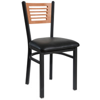 BFM Seating 2151CBLV-CHSB Espy Sand Black Metal Side Chair with Cherry Wooden Back and 2 inch Black Vinyl Seat