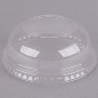 Dart Solo DLW16 16 oz. Clear PET Plastic Dome Lid with 2 inch Hole - 100/Pack