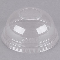 Dart DLR685 7 oz. Clear PET Plastic Dome Lid with 1 inch Hole - 125/Pack