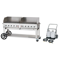 Crown Verity MCC-72WGP 72 inch Mobile Outdoor Cart Grill with 2 Vertical Propane Tanks and Wind Guard Package