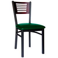 BFM Seating 2151CGNV-MHSB Espy Sand Black Metal Side Chair with Mahogany Wooden Back and 2 inch Green Vinyl Seat