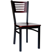 BFM Seating 2151CMHW-MHSB Espy Sand Black Metal Side Chair with Mahogany Wooden Back and Seat