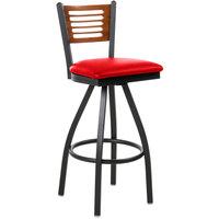 BFM Seating 2151SRDV-CHSB Espy Sand Black Metal Bar Height Chair with Cherry Wooden Back and 2 inch Red Vinyl Swivel Seat