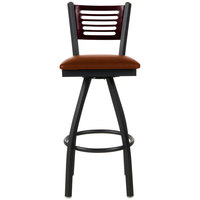 BFM Seating 2151SLBV-MHSB Espy Sand Black Metal Bar Height Chair with Mahogany Wooden Back and 2 inch Light Brown Vinyl Swivel Seat