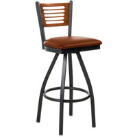BFM Seating 2151SLBV-CHSB Espy Sand Black Metal Bar Height Chair with Cherry Wooden Back and 2 inch Light Brown Vinyl Swivel Seat