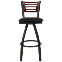BFM Seating 2151SBLV-WASB Espy Sand Black Metal Bar Height Chair with Walnut Wooden Back and 2 inch Black Vinyl Swivel Seat