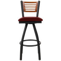 BFM Seating 2151SBUV-CHSB Espy Sand Black Metal Bar Height Chair with Cherry Wooden Back and 2 inch Burgundy Vinyl Swivel Seat