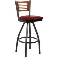 BFM Seating 2151SBUV-CHSB Espy Sand Black Metal Bar Height Chair with Cherry Wooden Back and 2 inch Burgundy Vinyl Swivel Seat