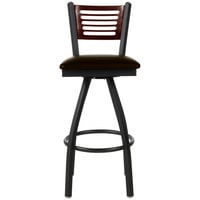 BFM Seating 2151SDBV-WASB Espy Sand Black Metal Bar Height Chair with Walnut Wooden Back and 2 inch Dark Brown Vinyl Swivel Seat
