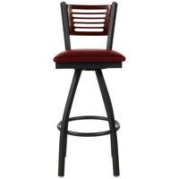 BFM Seating 2151SBUV-WASB Espy Sand Black Metal Bar Height Chair with Walnut Wooden Back and 2 inch Burgundy Vinyl Swivel Seat