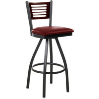 BFM Seating 2151SBUV-WASB Espy Sand Black Metal Bar Height Chair with Walnut Wooden Back and 2 inch Burgundy Vinyl Swivel Seat