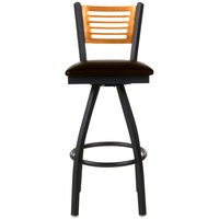 BFM Seating 2151SDBV-NTSB Espy Sand Black Metal Bar Height Chair with Natural Wooden Back and 2 inch Dark Brown Vinyl Swivel Seat