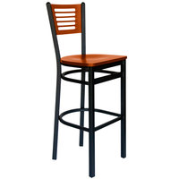 BFM Seating 2151BCHW-CHSB Espy Sand Black Metal Bar Height Chair with Cherry Wooden Back and Seat