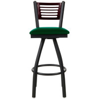 BFM Seating 2151SGNV-MHSB Espy Sand Black Metal Bar Height Chair with Mahogany Wooden Back and 2 inch Green Vinyl Swivel Seat