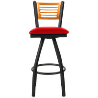 BFM Seating 2151SRDV-NTSB Espy Sand Black Metal Bar Height Chair with Natural Wooden Back and 2 inch Red Vinyl Swivel Seat