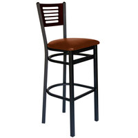 BFM Seating 2151BLBV-WASB Espy Sand Black Metal Bar Height Chair with Walnut Wooden Back and 2 inch Light Brown Vinyl Seat