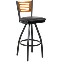 BFM Seating 2151SBLV-NTSB Espy Sand Black Metal Bar Height Chair with Natural Wooden Back and 2 inch Black Vinyl Swivel Seat