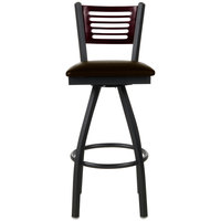 BFM Seating 2151SDBV-MHSB Espy Sand Black Metal Bar Height Chair with Mahogany Wooden Back and 2 inch Dark Brown Vinyl Swivel Seat