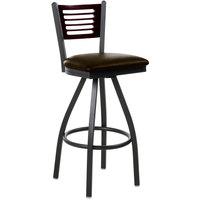 BFM Seating 2151SDBV-MHSB Espy Sand Black Metal Bar Height Chair with Mahogany Wooden Back and 2 inch Dark Brown Vinyl Swivel Seat