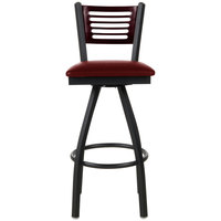 BFM Seating 2151SBUV-MHSB Espy Sand Black Metal Bar Height Chair with Mahogany Wooden Back and 2 inch Burgundy Vinyl Swivel Seat
