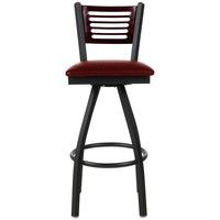 BFM Seating 2151SBUV-MHSB Espy Sand Black Metal Bar Height Chair with Mahogany Wooden Back and 2 inch Burgundy Vinyl Swivel Seat