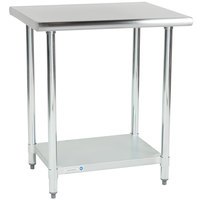 Steelton 24 inch x 30 inch 18 Gauge 430 Stainless Steel Work Table with Undershelf