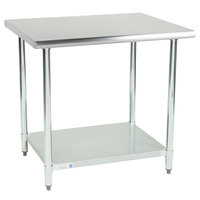 Steelton 30 inch x 36 inch 18 Gauge 430 Stainless Steel Work Table with Undershelf
