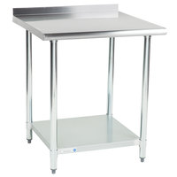 Steelton 30 inch x 30 inch 18 Gauge 430 Stainless Steel Work Table with Undershelf and 2 inch Rear Upturn