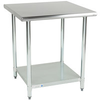 Steelton 30 inch x 30 inch 18 Gauge 430 Stainless Steel Work Table with Undershelf