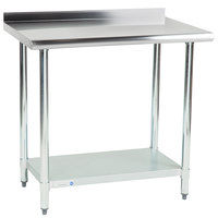 Steelton 24 inch x 36 inch 18 Gauge 430 Stainless Steel Work Table with Undershelf and 2 inch Rear Upturn