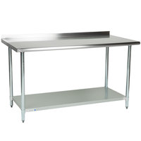 Steelton 30 inch x 60 inch 18 Gauge 430 Stainless Steel Work Table with Undershelf and 2 inch Rear Upturn